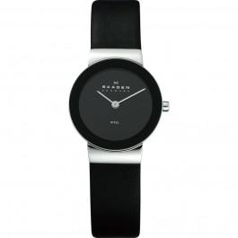 Bracelet de montre Skagen 358SSLB Cuir Noir 14mm