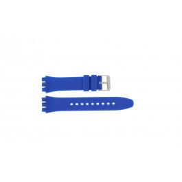 Bracelet de montre alternative adaptée à Swatch S07 Silicone Bleu 19mm