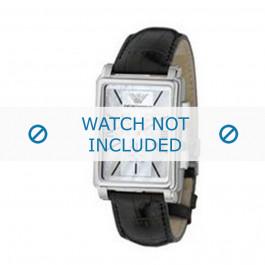 Armani bracelet de montre AR-0141 Cuir croco Noir 20mm