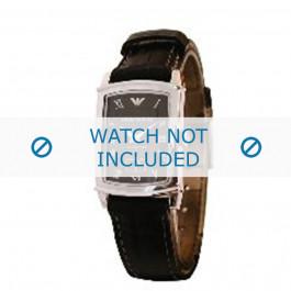 Armani bracelet de montre AR-0240 Cuir croco Noir 16mm