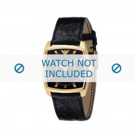 Armani bracelet de montre AR-0308 Cuir croco Noir 22mm