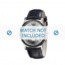 Armani bracelet de montre AR-0463 Cuir croco Noir 24mm