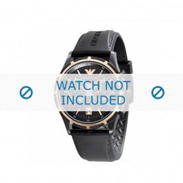 Bracelet de montre Armani AR0584 / AR0595 Caoutchouc Noir 23mm