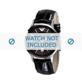 Bracelet de montre Armani AR2411 Cuir Noir 22mm
