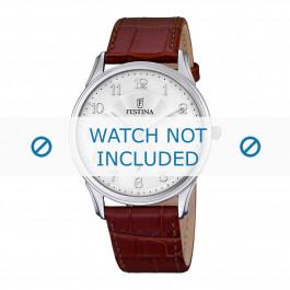 Festina bracelet de montre F6851-1 Cuir croco Brun 21mm + coutures brunes
