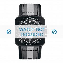 Nautica bracelet de montre A21500G Cuir Noir + coutures noires