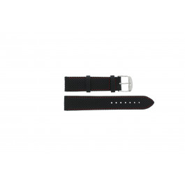 Tissot bracelet de montre T049.417 - T600031360 / T038.430 / T049.410 / T033.410 / T71.3.633 / T71.3.623 / T033.423 Cuir Noir 19mm + coutures  rouges