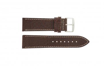 Bracelet de montre I320 Cuir Brun 24mm + coutures blanches