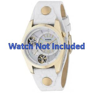 Bracelet de montre Fossil ME1039 Cuir Blanc 18mm