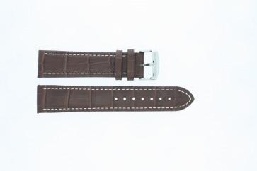 En cuir de bison brun moyen avec coutures blanches 22mm 518