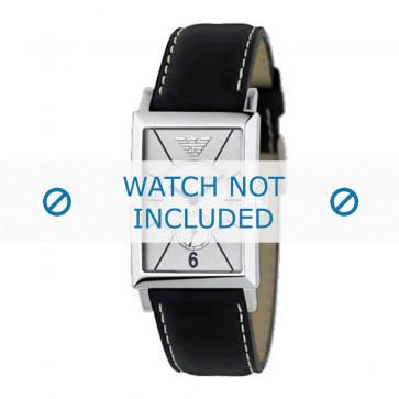 Armani bracelet de montre AR-0129 Cuir Noir 20mm + coutures blanches