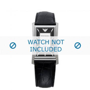 Armani bracelet de montre AR-0158 Cuir croco Noir 23mm