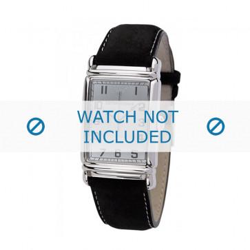 Armani bracelet de montre AR-0233 Cuir Noir 26mm + coutures blanches