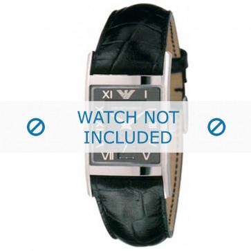 Armani bracelet de montre AR-0247XL Cuir croco Noir 22mm