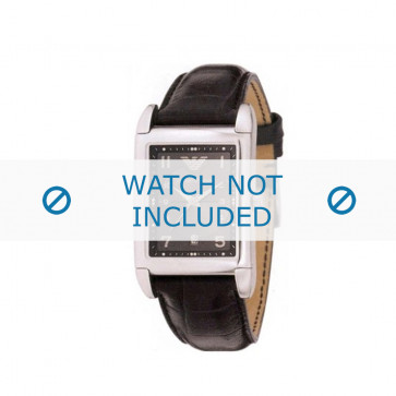 Armani bracelet de montre AR-0272 Cuir croco Noir 22mm