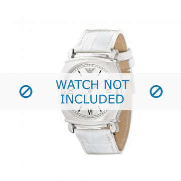 Armani bracelet de montre AR-0287 Cuir croco Blanc 24mm