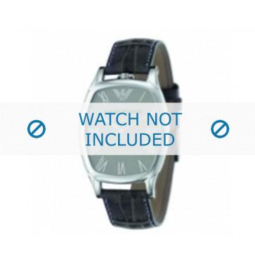 Armani bracelet de montre AR-2400 Cuir croco Noir 19mm