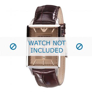 Armani bracelet de montre AR-2419 Cuir croco Brun 22mm