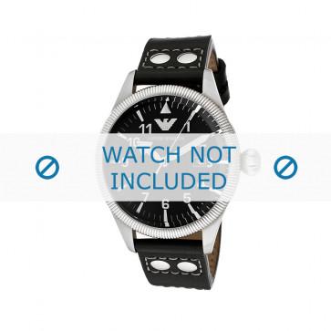 Bracelet de montre Armani AR5834 Cuir Noir 23mm