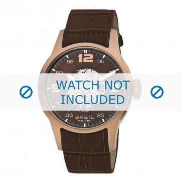 Breil bracelet de montre BW0271 Cuir croco Brun + coutures jaunes