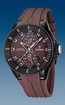 Bracelet de montre Festina F16612-2 / F16611-2 Caoutchouc Brun 18mm