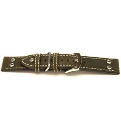 Bracelet de montre en cuir brun 22mm H393