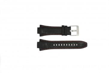 Seiko bracelet de montre 7L22-0AE0 / SNL017P1 / 4KG8JZ /SNL021P9 Cuir Noir 15mm + coutures oranges