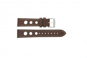 Bracelet de montre 682.02 Cuir Brun 20mm + coutures blanches