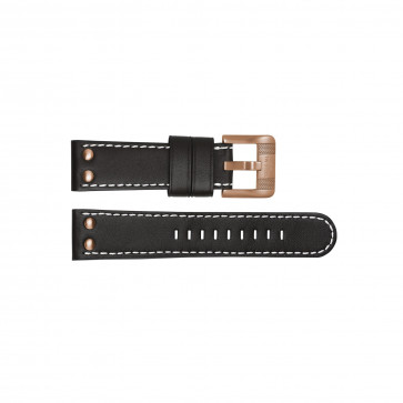 TW Steel bracelet de montre TWB16 Cuir Noir 24mm + coutures blanches