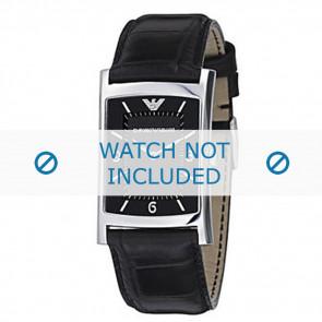 Armani bracelet de montre AR-0147 Cuir croco Noir 22mm