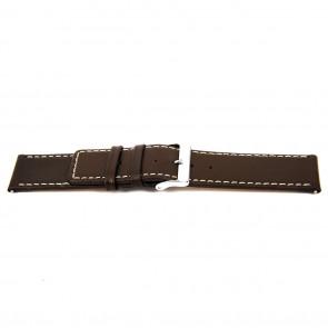 Bracelet de montre N310 Cuir Brun foncé 34mm + coutures blanches