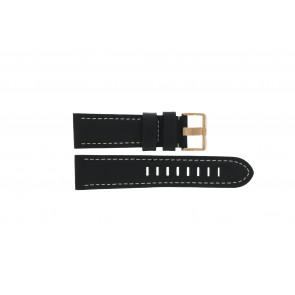 Prisma bracelet de montre LEDZWR Cuir Noir 23mm + coutures blanches