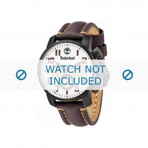 Timberland bracelet de montre 14439JSU-07 Cuir Brun foncé 22mm + coutures oranges