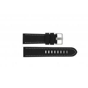 Prisma bracelet de montre ZWST23 Cuir Noir 23mm + coutures blanches